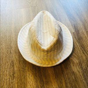 Mens white striped cow boy hat